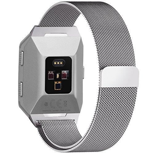 Fullmosa für Fitbit Ionic Armband,Edelstahl Ersatzband/Uhrenarmband für Fitbit Ionic,Armbänder für Damen und Herren,-L,Silber (Xl Fitbit Band)