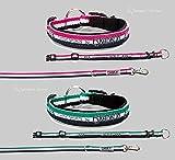 Eskadron Hundehalsbandset, Hundehalsband und Leine, smaragdgreen, pink Größe L, Farbe smaragdgreen