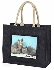 Advanta Fb. British creme Katzen, SOULMATES Große Einkaufstasche Weihnachtsgeschenk Idee, Jute, schwarz, 42x 34,5x 2cm