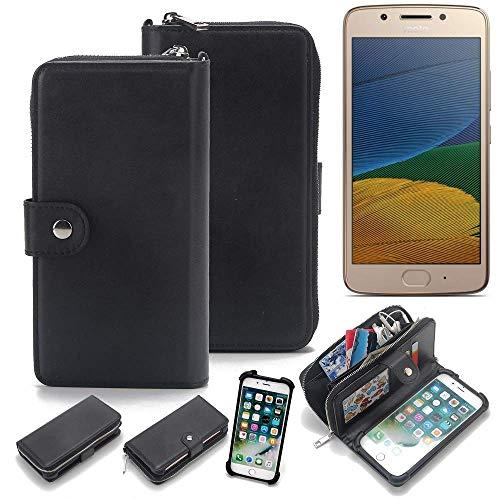 K-S-Trade 2in1 Handyhülle für Lenovo Moto G5 Dual-SIM Schutzhülle & Portemonnee Schutzhülle Tasche Handytasche Case Etui Geldbörse Wallet Bookstyle Hülle schwarz (1x)