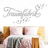 Grandora W708 Wandtattoo Wort Traumfabrik Sternenschweif I silbergrau 120 x 44 cm I Schlafzimmer Kinderzimmer Aufkleber Wandaufkleber Wandsticker