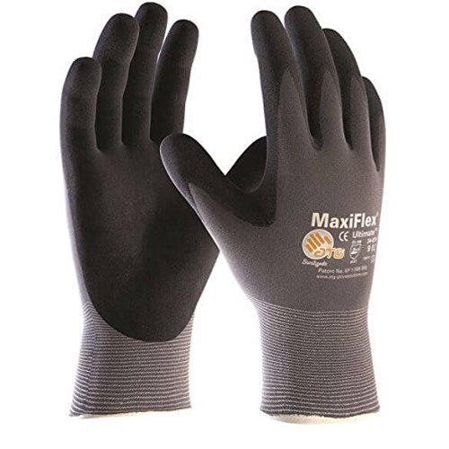 ATG 42-874/9Ultimate Palm beschichtet KNITWRIST Silikon Frei Nitril Handschuhe, Grau, groß, von 144Stück