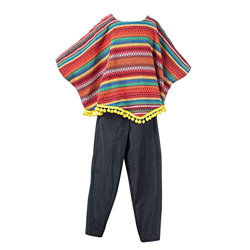 Mexikaner Kostüm Kinder 2-tlg. Poncho und Hose für Jungen zum Karneval - 9/11 Jahre (Halloween Planet Kostüme)