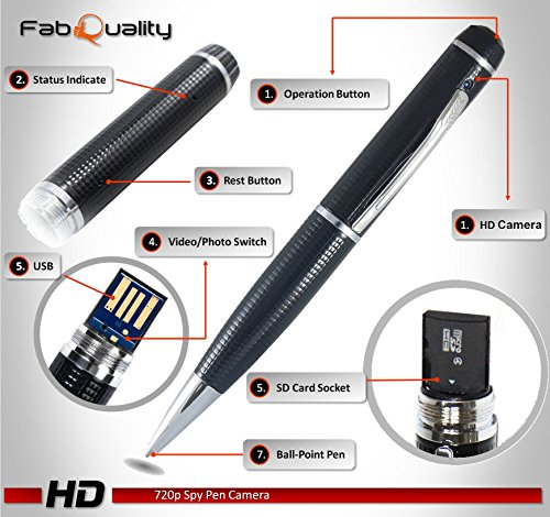 fabquality versteckter Kamera Spy Pen 1080P. Inkl. 16GB SD - 2
