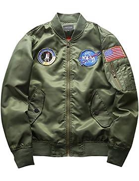Hombre Bomber Jacket Suelto Casual Manga Larga Impresión Chaqueta De Bombardero Capa Outwear Verde del ejército L