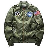 Yonglan Hombre Bomber Jacket Suelto Casual Manga Larga Impresión Chaqueta De Bombardero Capa Outwear Verde del ejército L