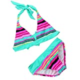 OMSLIFE filles bikini Maillots de bain serré Haute élasticité rayure maillots de bain pour enfants