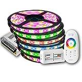 30m IP20 RGBW (RGB+Warmweiß) LED Streifen mit 1800 LEDs (SMD 5050) + RF Touch Fernbedienung +12v 30A 360W Netzteil STROMVERSORGUNG für Haus & Outdoor Decorative