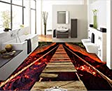 Aliworte 3D Tapete Bodenbelag Atemberaubende Lavaseilbrückenmalerei Schlafzimmer Wohnzimmer Wandbild Wandaufkleber 150Cmx100Cm