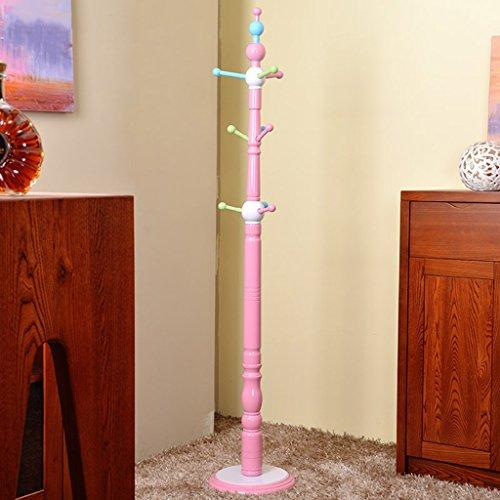 LYM Stehender Huthänger Kid's Mantel Hut Rack Holz Stand, Hall Baum mit 6 Haken Display Stand Simple Assembly Of Coat Regale ( Farbe : Pink , größe : 177*33CM )