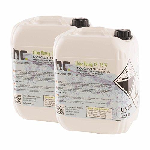Höfer Chemie Chlor Flüssig 4 x 12,5 kg - Pool Flüssigchlor mit 13 bis 15% Aktivchlorgehalt zur Poolpflege und Wasserdesinfektion - Made in Germany