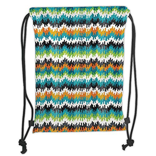 LULUZXOA Gym Bag Printed Drawstring Sack Backpacks Bags,Geometric,Abstract Trippy Funky Digital Complex Forms Creative Mosaic Technology Motif Decorative,Ring