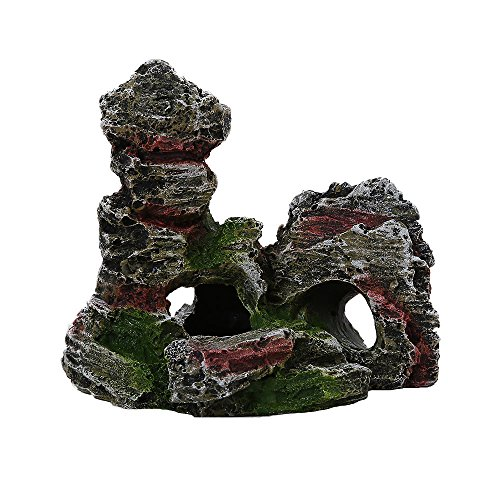 BOBOLover Mountain View Acuario de Roca Escondite Cueva árbol de Peces Ornamento del Tanque Decoración,A