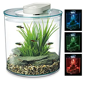Marina 360 Aquarium with Remote Control LED Lighting, Multi-colour, 10 Litre