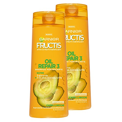 Garnier Fructis Shampoo for Dry Hair Oil Repair 3 with Olive Oil, Avocado and Shea, Paraben Free, 250 ml – 3 Packs of 2 Units