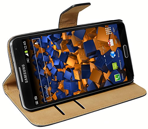 mumbi Ledertasche im Bookstyle für Samsung Galaxy Note 3 Tasche in schwarz - Holster Note 3 Samsung Für