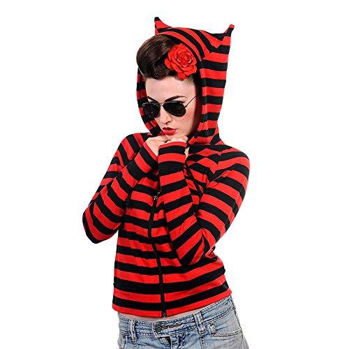 Felpa Hoodie Stripe Banned (Rosso/Nero) - Small