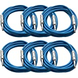 "Seismic Audio New 6 Pack Blue 1/4"" TRS 10' Patch Cables Blue - SATRX-10Blue6"
