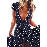 OYSOHE Damen Vintage Kleid, Frauen Sommer Boho Lange Abendgesellschaft Cocktailkleid Strandkleid Sommerkleid (M, Marine)