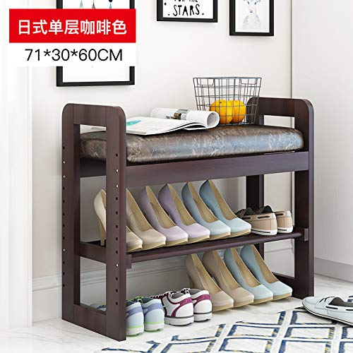 seeksungm Chair, Classical Solid Wood Multifunctional Shoe Bench, Wooden Environmentally Friendly and easy to clean Storage Shoe Chair, Home Shoe rack Sofa Stool, d 70 cm Brown