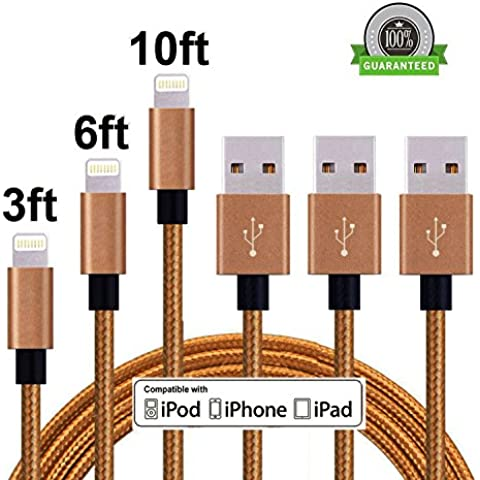 Cavo USB 3Pack 3FT 6FT 10FT nylon intrecciato con Lightning connettore per iPhone SE / 6S / 6 Plus / 6, iPad Air 2, iPad Pro e Altro