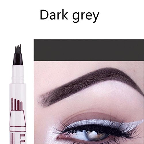 Fork Tip Microblading Eyebrow Tattoo Tint Pen Fine Sketch Liquid Enhancer Pencil Waterproof(1 per pack) (B)