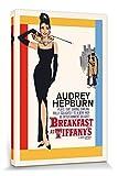1art1 77648 Audrey Hepburn - Frühstück Bei Tiffany, Filmplakat Poster Leinwandbild Auf Keilrahmen 120 x 80 cm