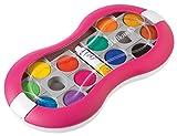 Pelikan 724625 Acquarelli Space + Confezione Rosa 12 Colori Con Scodellini Separabili - Made In Germany