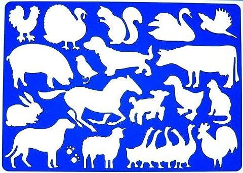 Bauernhof Tiere Schablone Zeichenschablone - Symbole Henne Schwein Türkei Kaninchen