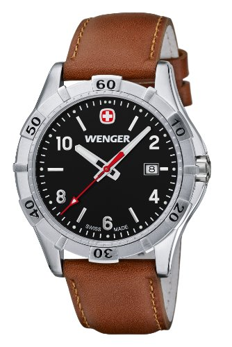 Wenger Platoon Men's Quartz Watch with White Dial Analogue Display and Silver Stainless Steel Bracelet 10941102