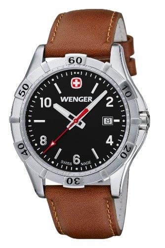 Wenger Platoon 01.9411.103 - Reloj analógico de cuarzo para hombre, correa de cuero color marrón (agujas luminiscentes)