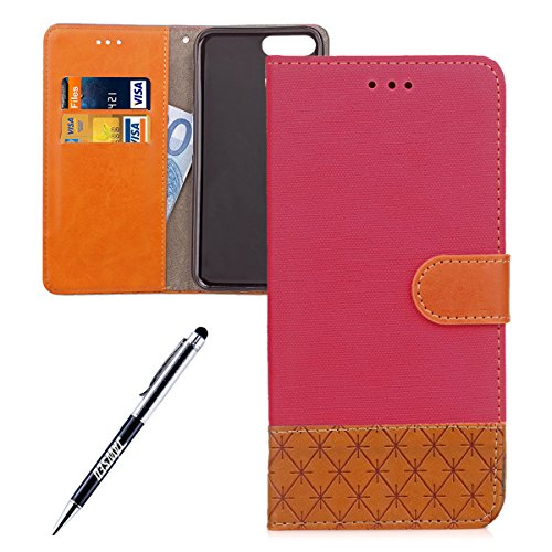 iPhone 7 Plus Custodia, iPhone 7 Plus Custodia Portafoglio, iPhone 7 Plus Cover Pelle, JAWSEU Lusso Denim Pelle Patchwork Flip Cover Custodia per iPhone 7 Plus Cover Copertura con Morbida Gel Silicone Denim Rosa caldo