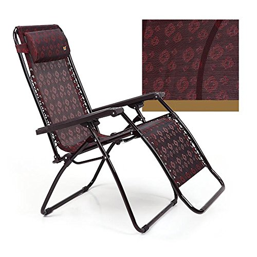 DEO Fauteuils inclinables Chaise pliante Zero Gravity Chaise Chaise longue Surdimensionné Patio Recliner pour Outdoor Support 210 kg Vin Rouge (Couleur : B)