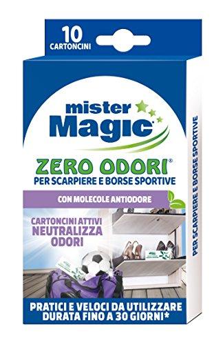 Mister magic, zero odori per scarpiera, ideale anche per armadietti e borse sportive, con molecola antiodore, dura 30 giorni, 10 cartoncini