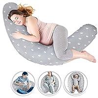 Luchild Nursing Pillow Pregnancy Pillow Maternity Pillow, for Breastfeeding Baby e Full Body for Sleeping, Large,102% Cotton Pillow Case,Inner Filling Polyester Fiber - Crown
