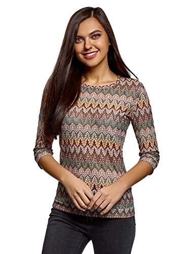 T-shirt 3/4 Arm (oodji Ultra Damen T-Shirt mit Rundem Ausschnitt und 3/4-Arm, Braun, DE 38 / EU 40 / M)