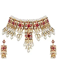 DS Multicolour Traditional Ethnic Party Wear Jewellery Kundan And Pearl Neck Choker Set Necklace With Earrings...