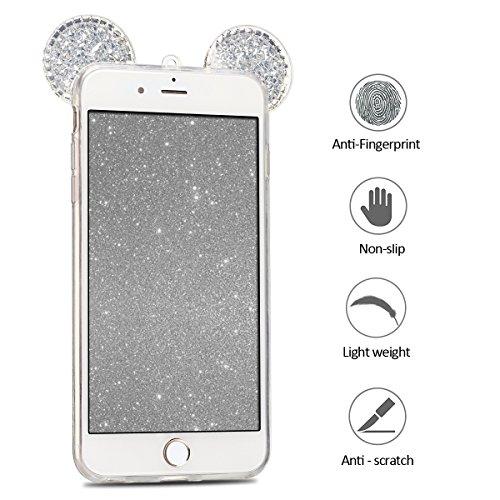 Coque iPhone 6 , Bling Glitter Case Cover iPhone 6S Flexible Souple TPU Etui Mode Dessin Motif 3D Mignonne Charmant Strass Oreilles Diamant Housse Cas Lumineuse Luxe oreille Enveloppe Coque Pour E-Lus Argent