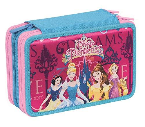 Astuccio 3 zip disney princess loyal hearts - con penne, matite, pennarelli ... rosa