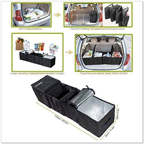 autoark ak-018Negro Plegable Compartimiento de multi tela coche camión Van SUV cesta de almacenamiento tronco Organizador y Set de Cooler