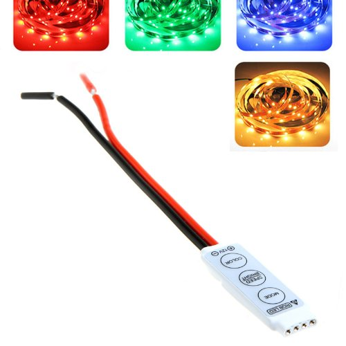 TOOGOO(R) 12V ultra sottile mini RGB 5050/3528 LED Striscia Tape striscia Regolatore Dimmer Portatil