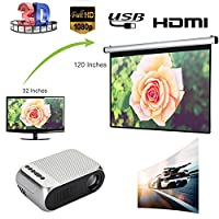 Cewaal HD Wireless LCD Projector, (EU Plug)Home Theater Video Projector Support 1080p HDMI LED Home Cinema Projector fo