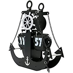 Longshien Reloj de pared Giro automático del reloj de la sala Europea Decoración retro relojes mecánicos moderno simple creativo del ancla del pirata reloj de pared