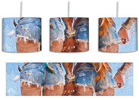 Hippiemädchen in knappen Shorts Kunst Pinsel Effekt inkl. Lampenfassung E27, Lampe mit Motivdruck, tolle Deckenlampe, Hängelampe, Pendelleuchte - Durchmesser 30cm - Dekoration mit Licht ideal für Wohnzimmer, Kinderzimmer, Schlafzimmer