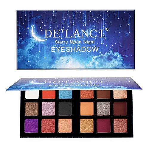 DE'LANCI 18 Colors Eyeshadow Makeup Palette with Mirror, Fard à Paupières Ombre à Paupières Shimmer Matte Duo-Chromes - Cosmétiques Ultra Pigmentés Etanches - Sans Cruauté (A)