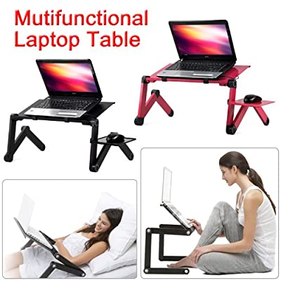 Outdoortips 360°Folding Laptop Computer Notebook Table Stand Bed Sofa Desk Tray With USB Cable & Built-in 2 Cool fans - cheap UK light store.