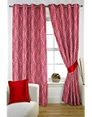 HOMEC Primero Collection - Jacquard Curtain Set of 2 in Color Maroon