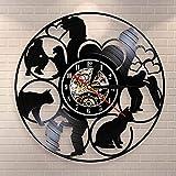 N / A 3D-Sept Couleurs-Télécommande-USB-Muet Horloge Murale-Soins Animaliers Horloge Disque Vinyle Clinique Santé Animale Horloge Murale Clinique Animalerie Étiquette Murale Chien Soins Chat Chat...