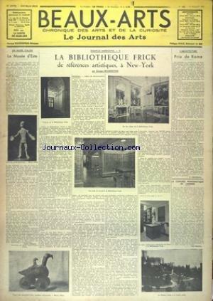 BEAUX-ARTS [No 185] du 17/07/1936 - LE MUSEE D'ESTE - LA BIBLIOTHEQUE FRICK DE REFERNECES ARTISTIQUES A NEW YORK PAR WILDENSTEIN - PRIS DE ROME - LE CONGRES NUMISMATIQUE DE LONDRES