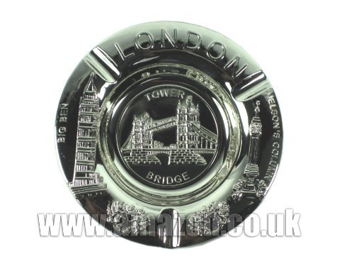 Metal Ashtray Silver, Tower Bridge with Big Ben and Nelson's Column around the Edge - 6221 by Ashtrays (Ben Nelson)